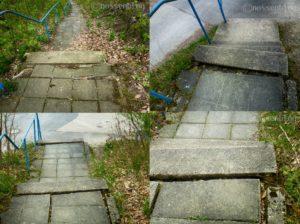 Nossen, zerstörte Treppe zum Aussichtspunkt Bastei