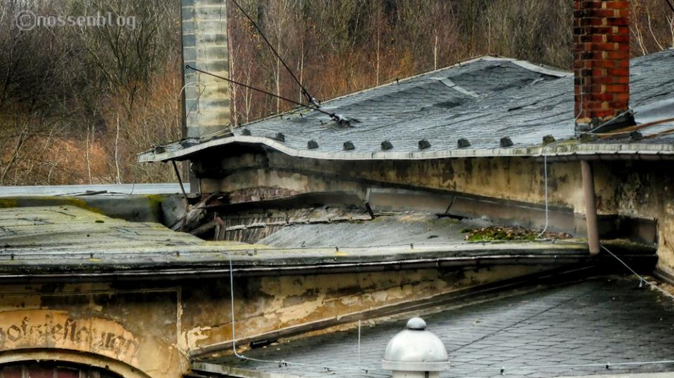 Bahanhof Nossen, eingestürztes Dach