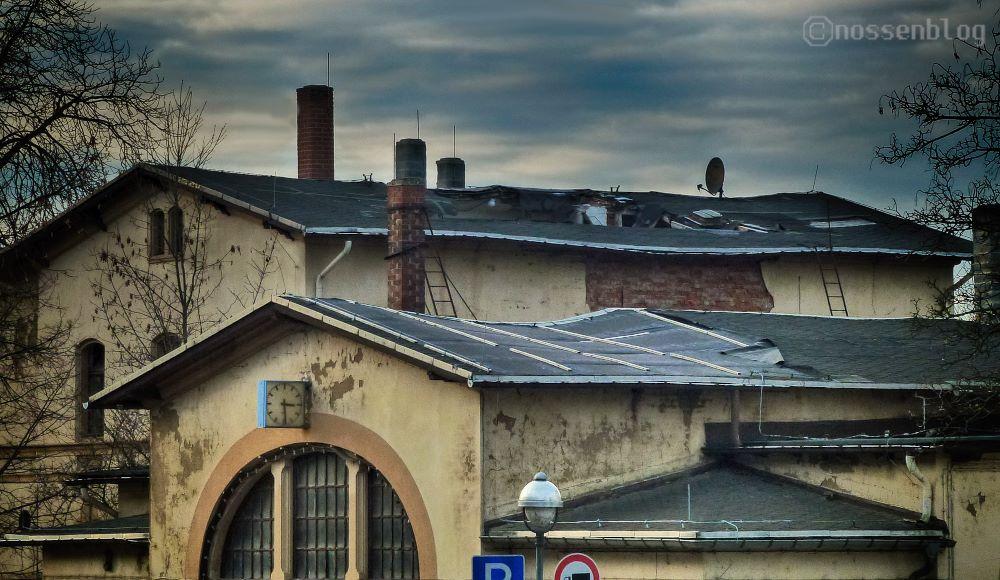 Bahanhof Nossen, eingestürztes Dach.